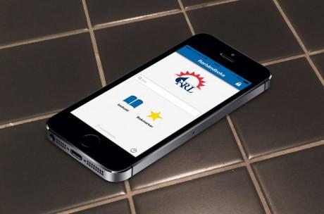 Rørhåndboka iPhone app på gulvet
